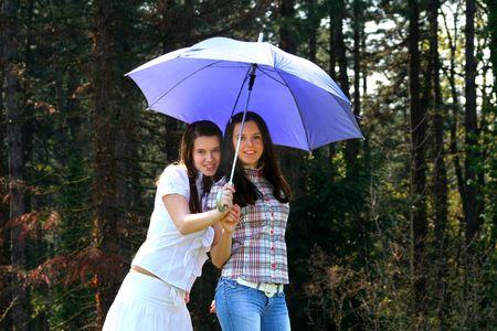 Girls And Umbrella photo