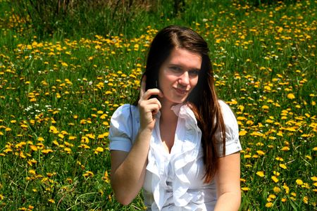 Girl,flowers and Mobile