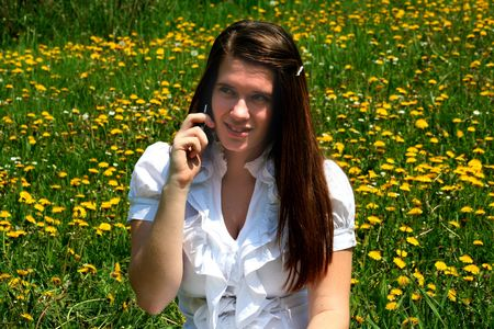Girl,flowers and Mobile 3