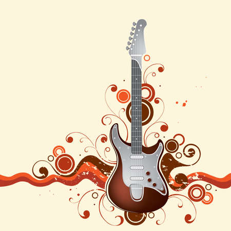 Guitar on a background Stock Vector - 2638932
