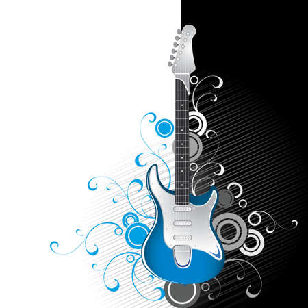 Guitar on a black-and-white background Stock Vector - 2638930