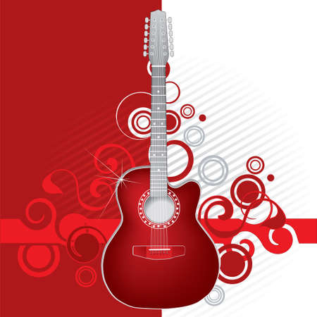 Red guitar Stock Vector - 2657275