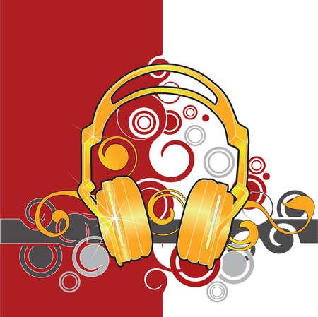 Gold headphones Stock Vector - 2657273