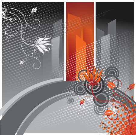 Flowers on a background of abstract city Vector