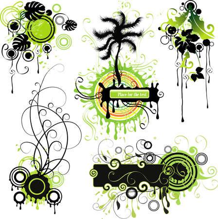 surf vector: Vegetative elements  Illustration