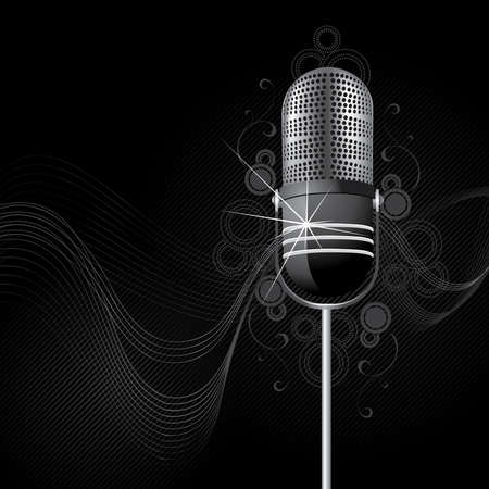 micro: Sparkling retro a microphone Stock Photo