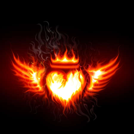 heart wings: Burning heart Stock Photo
