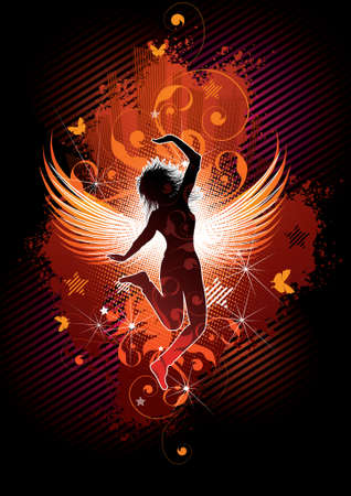 Silhouette of the girl with wings on an abstract background photo