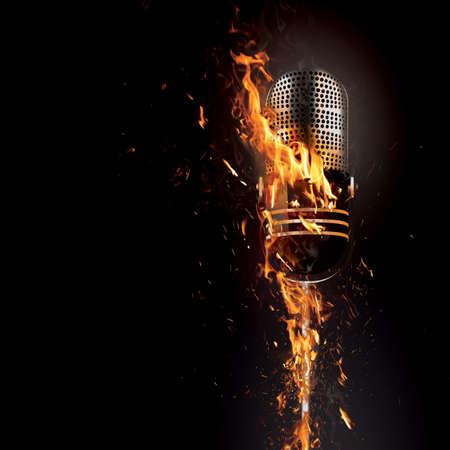 fire show: Fiery microphone