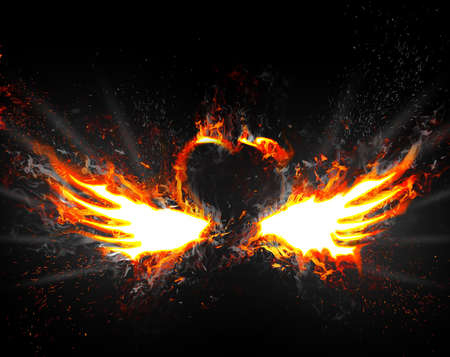 burns: Heart with wings captured by a flame