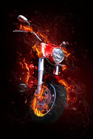 Fiery motorcycle Stock Photo - 3945503