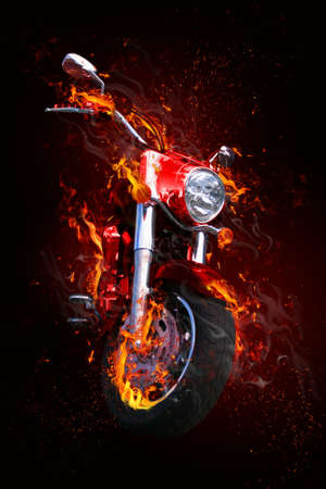 Fiery motorcycle Stock Photo