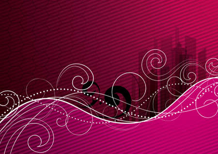 Pink background with an abstract city photo