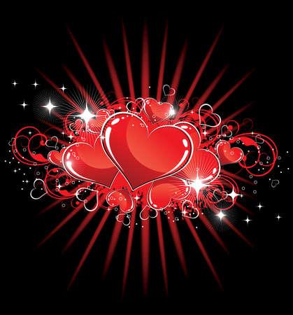 Vector illustration of hearts on a dark background Vector