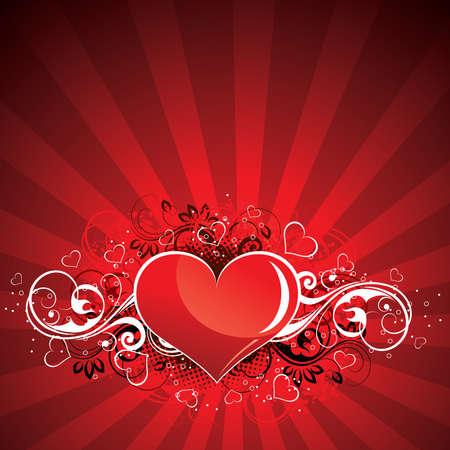 interweaving: Illustrazione vettoriale di cuore su un fondo rosso Vettoriali