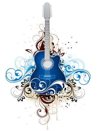 暗い青のギター  イラスト・ベクター素材