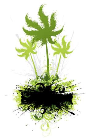 ray trace: Composici�n con palmeras sobre un fondo blanco
