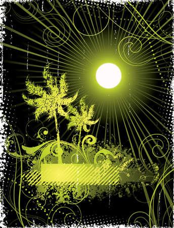 Palm tree in solar beams Stock Vector - 4579421