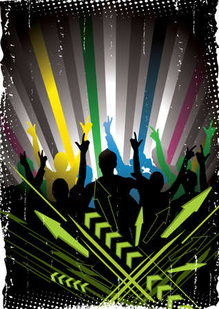 party club: Musical colour background Illustration