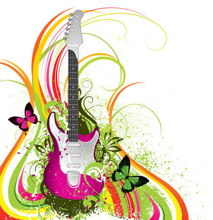 Musical composition with a guitar Vector
