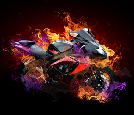 igniting: Fiery motorcycle Stock Photo