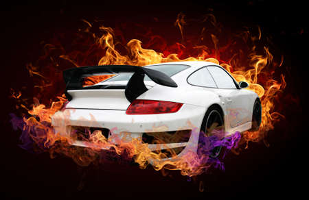 fire car: Sports car captured by a fiery flame on a dark background