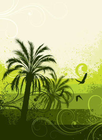 ray trace: Green palm trees Illustration