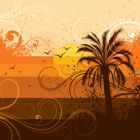 Palm tree illustration on a sunset Stock Vector - 5691416