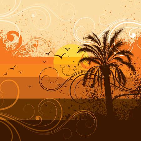 ray trace: Palm tree illustration on a sunset
