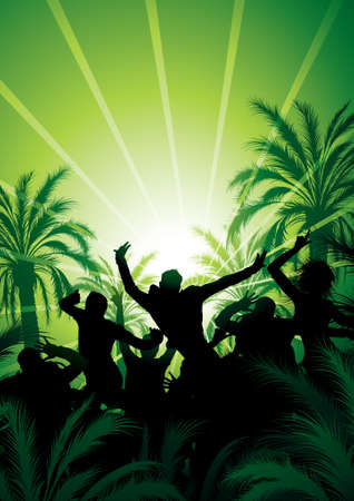 Composition with silhouettes of people against palm trees Stock Vector - 5691418