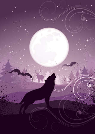 moon light: Howling wolf Illustration
