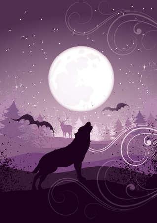 night bird: Howling wolf Illustration