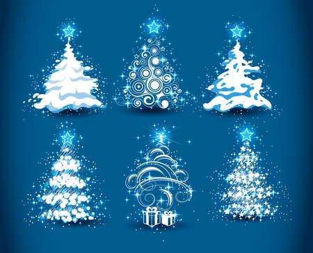 fur tree: Alberi di Natale su fondo blu scuro