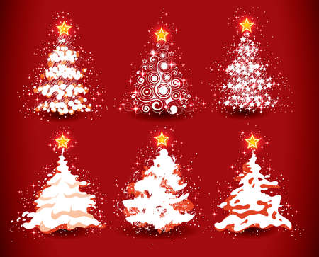 Christmas trees on a red background Illustration
