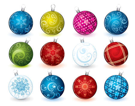 hang up: Collection of New Years spheres Illustration