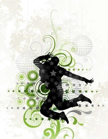 dancer male: Jump Illustration