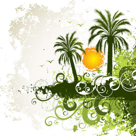 tropical sunset: Green palm trees Illustration