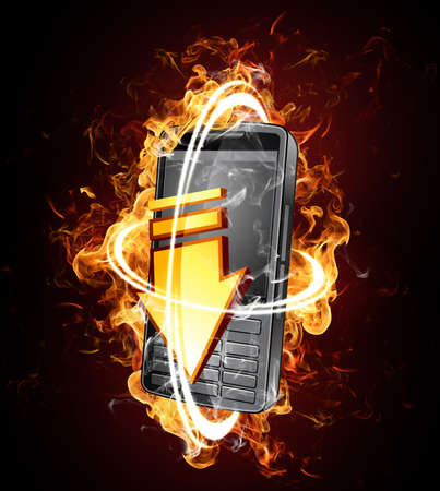 Fiery phone Stock Photo - 7078581