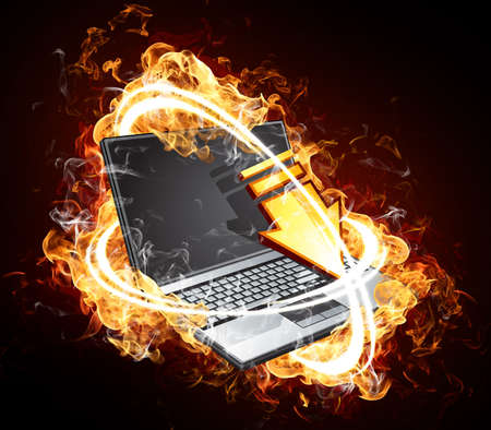 inet: The fiery computer Stock Photo