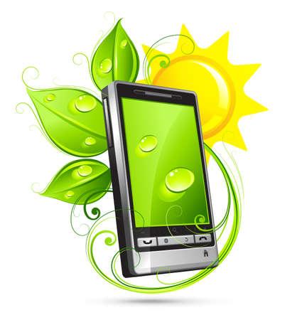 telefon: Zielony telefonu  Ilustracja