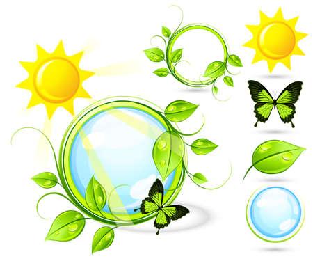 germination: Composici�n solar con elementos Vectores
