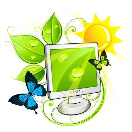 logo informatique: Moniteur écologique  Illustration