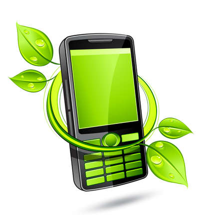 Green eco phone Stock Vector - 7163686