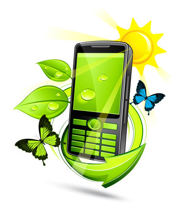 Solar composition with green phone  Stock Vector - 7163689