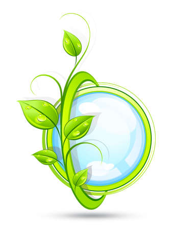 round logo: Green composition Illustration