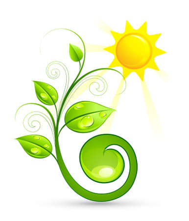 eco logo: Solar green composition Illustration