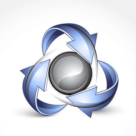 calentamiento global: Esfera abstracta con flechas. Logotipo de empresa