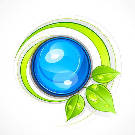 earth logo: Abstract sphere with leaves. Business logo