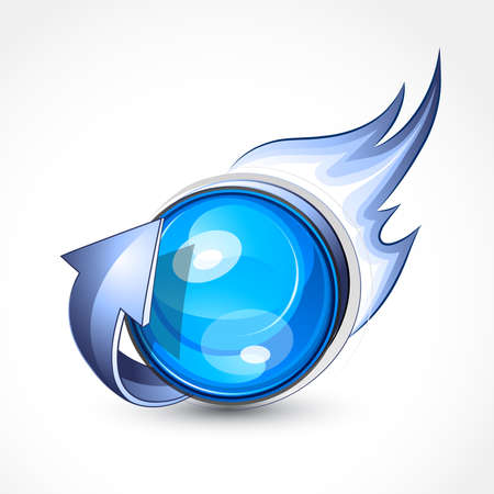 rotund: Blue fiery sphere with an arrow. Business logo