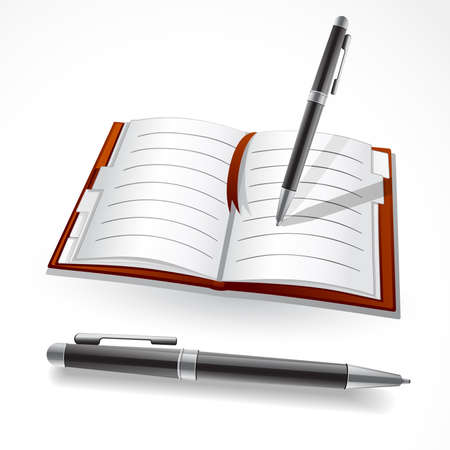 ball pen:   illustration of a notebook and ball pen